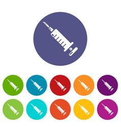 syringe icons set color vector image