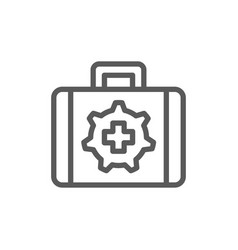 Technical assistance suitcase line icon vector