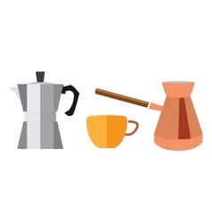 Turk for coffee and geyser in a flat style vector image