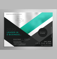 turquoise geometric business brochure vector image