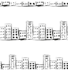 Urban line landscape ink imitation drawing on a vector