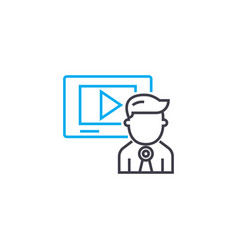 video presentation thin line stroke icon vector image