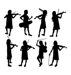 Violinist girl silhouettes vector