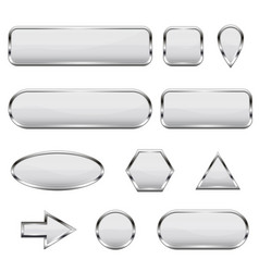 white 3d icons glass shiny buttons vector image