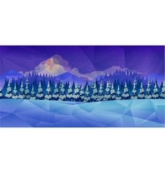 Winter forest background low poly style vector image