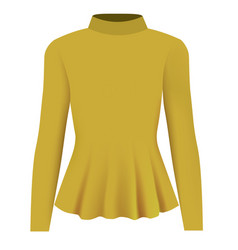 Women yellow blouse long neck vector