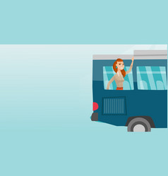 young caucasian woman waving hand from bus window vector image vector image