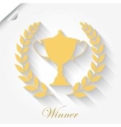 Cup Award with laurel wreath vector image