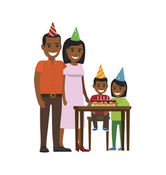 family yogrther at table with happy birthday cake vector image vector image