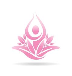 Lotus yoga person spiritual logo vector image