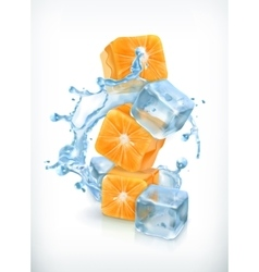 Orange cubes with ice and splashes vector image vector image
