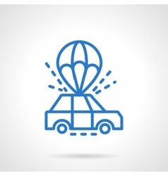 Parachute car delivery blue line icon vector image vector image