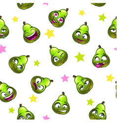 seamless pattern with funny pear vector image vector image
