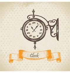 Street clock hand drawn vector image vector image