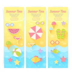 Summer banners with flat travel elements vector image