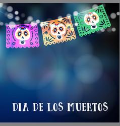 dia de los muertos or halloween card invitation vector image