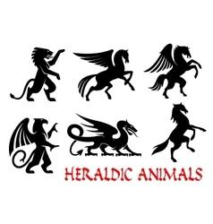 Heraldic animals emblems silhouette elements vector image vector image