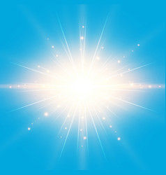 sun in the blue sky background with lighting vector image