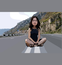 cartoon funny woman sitting on the roadway vector image vector image