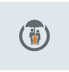 Gray-orange Family Round Icon vector image vector image