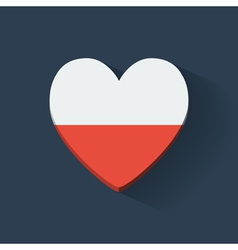 Heart-shaped icon with flag of Poland vector image vector image