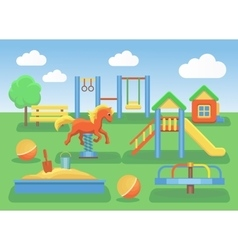 Kids playground flat concept background Slide vector image