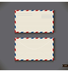 Two airmail envelope on gray background vector image