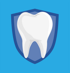 single white and healthy tooth on protection vector image