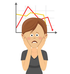 woman clutching head over chart going down vector image