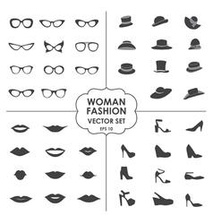 Woman Fashion Set - icons glasses hats shoes lips vector image