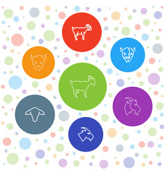 7 goat icons vector