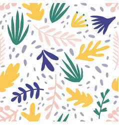 abstract plants flat seamless pattern vector image