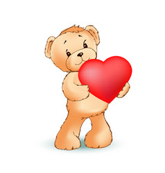 Adorable fluffy teddy bear holds big red heart vector