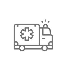 ambulance car emergency medical truck line icon vector image