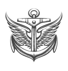 Anchor with wings tattoo vector
