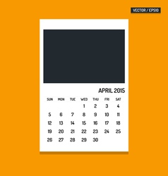 April 2015 calendar vector image