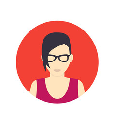 Avatar icon girl in glasses with short haircut vector