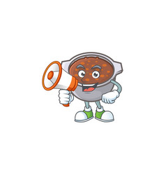 Baked beans in bowl with holding megaphone mascot vector