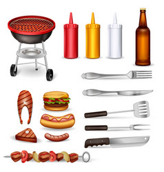 barbecue decorative icons set vector image