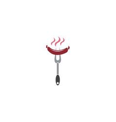 Barbecue fork with grilled sausage logo emblem vector