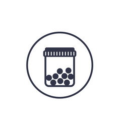 Bottle with pills icon on white vector