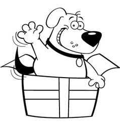 Cartoon dog inside a gift box vector image