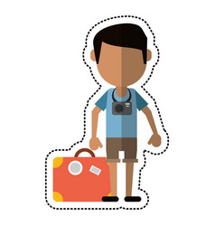 Cartoon traveler man camera suitcase vector