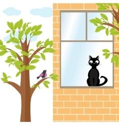 Cat and bird vector