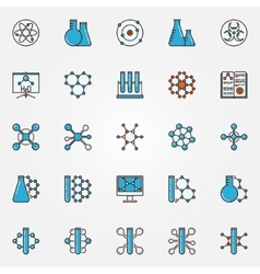Chemistry flat icons vector image