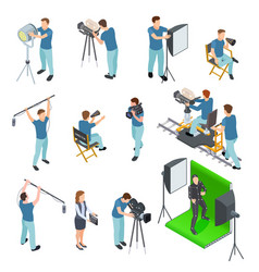 Cinematograph isometric set people work camera vector