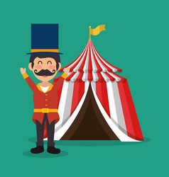 Circus presenter with tent vector