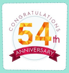 Colorful polygonal anniversary logo 3 054 vector