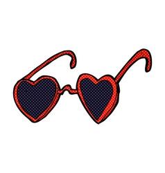 Comic cartoon heart sunglasses vector