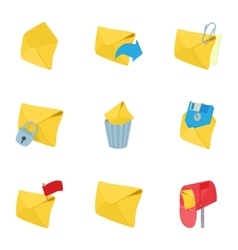 Communication via internet icons set vector